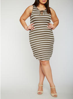 Plus Size Striped Lace Up Tank Dress - OLIVE - 0390051063052