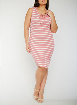 Plus Size Striped Lace Up Tank Dress - MAUVE - 0390051063052