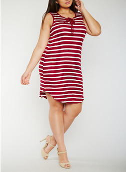 Plus Size Striped Lace Up Tank Dress - WINE - 0390051063052