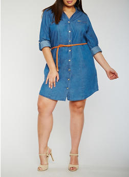 Plus Size Button Front Belted Denim Shirt Dress - 0390051063110