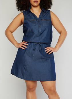 Plus Size Half Button Up Sleeveless Denim Dress with Drawstring Waist - DARK WASH - 0390051063137