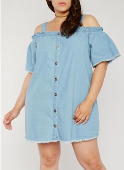 Plus Size Denim Cold Shoulder Button Front Dress - 0390051063173