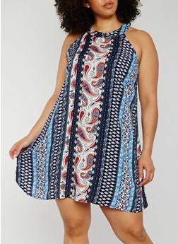 Plus Size Sleeveless Printed Trapeze Dress - BLUE PTN - 0390051063216