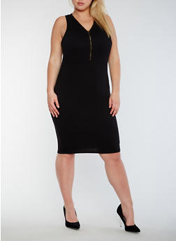 Plus Size Sleeveless Mid Zip Bodycon Dress - BLACK - 0390051063503