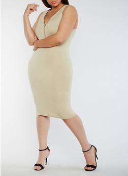 Plus Size Sleeveless Mid Zip Bodycon Dress - 0390051063503