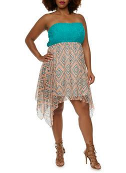 Plus Size Strapless Dress with Crochet Bodice - 0390051063582