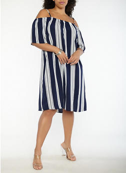 Plus Size Striped Off the Shoulder Dress - 0390051063606