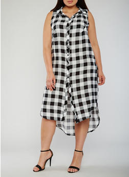 Plus Size Sleeveless Plaid Button Front Dress - BLACK/WHITE - 0390051063722