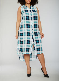 Plus Size Sleeveless Plaid Button Front Dress - MINT - 0390051063722