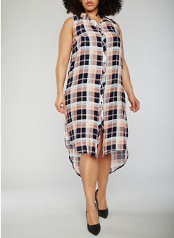 Plus Size Sleeveless Plaid Button Front Dress - NAVY - 0390051063722
