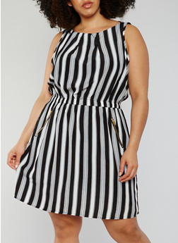 Plus Size Sleeveless Striped Shift Dress - 0390051064035