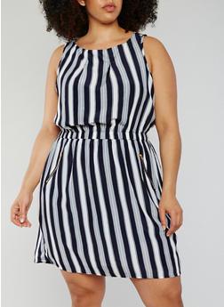 Plus Size Sleeveless Striped Shift Dress - 0390051064035