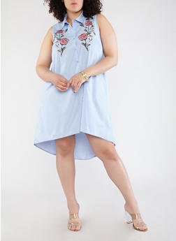 Plus Size Sleeveless Embroidered Dress - 0390051064567