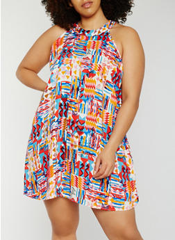 Plus Size Sleeveless Printed Shift Dress - ORANGE - 0390051065216