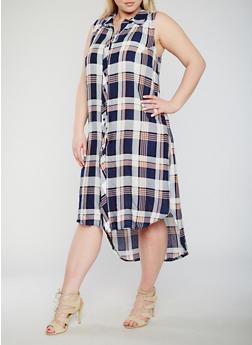 Plus Size Plaid Button Front High Low Shirt Dress - NAVY - 0390051065722