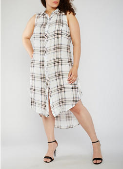 Plus Size Plaid Button Front High Low Shirt Dress - BLUSH - 0390051065722