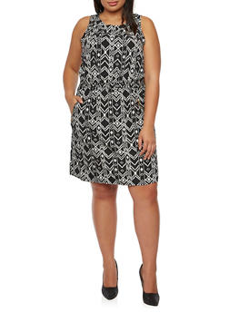 Plus Size Printed Dress with Elastic Waist - 0390051065968