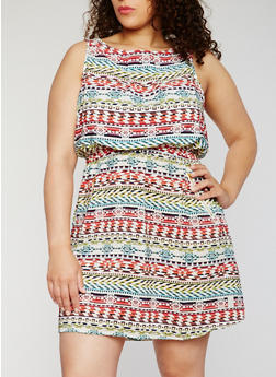Plus Size Sleeveless Printed Dress - 0390051066035