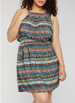 Plus Size Sleeveless Printed Dress - 0390051066035