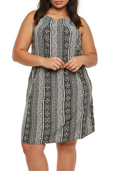 Plus Size Printed Dress with Elastic Waist and Zipper Pockets - 0390051066968