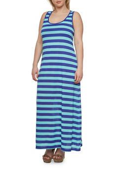 Plus Size Striped Maxi Dress with Scoop Neckline - 0390054262638