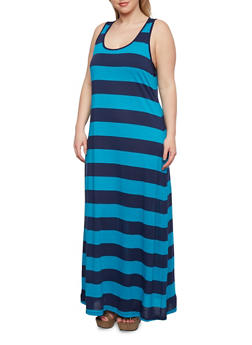 Plus Size Striped Maxi Dress with Scoop Neck - 0390054263263