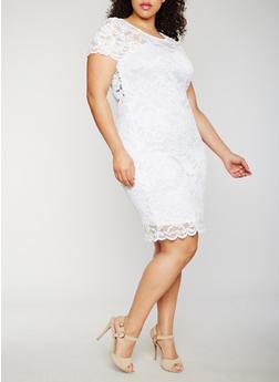 Plus Size Short Sleeve Lace Dress - 0390054268100