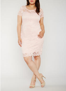 Plus Size Short Sleeve Lace Dress - 0390054268100