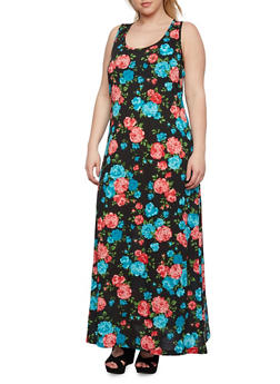 Plus Size Floral Maxi Dress with Scoop Neck - 0390054268112