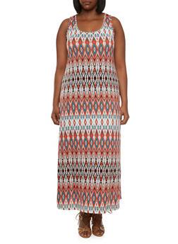Plus Size Aztec Print Maxi Dress - 0390054268118