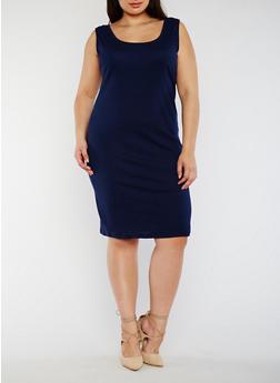 Plus Size Rib Knit Tank Dress - 0390054268277