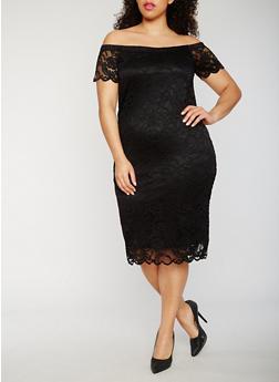 Plus Size Lace Off the Shoulder Midi Dress - 0390054268800