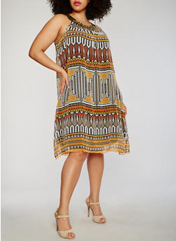 Plus Size Printed Embroidered Halter Neck  Dress - 0390056124013