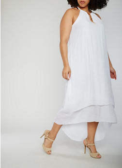 Plus Size Sleeveless Halter Neck High Low Dress - WHITE - 0390056124024