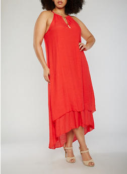 Plus Size Sleeveless Halter Neck High Low Dress - 0390056124024