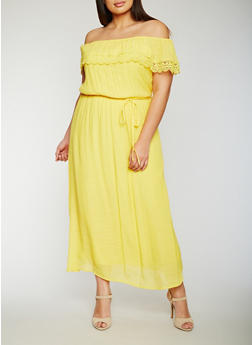 Plus Size Off the Shoulder Maxi Dress with Crochet Overlay - 0390056124052