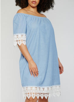 Plus Size Off the Shoulder Chambray Dress with Crochet Trim - 0390056124107