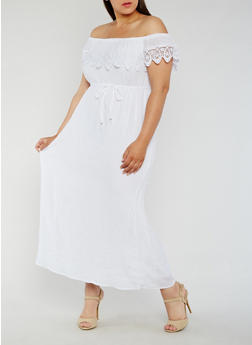 Plus Size Off the Shoulder Maxi Dress with Crochet Trim - 0390056124217