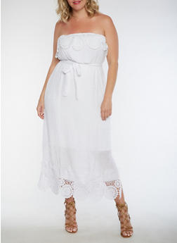 Plus Size Strapless Crochet Trim Dress - 0390056124220