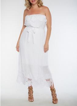 Plus Size Strapless Crochet Trim Dress - 0390056124220