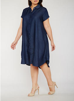 Plus Size Button Front Chambray Shirt Dress - 0390056124252