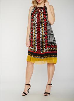Plus Size Sleeveless Printed Shift Dress with Jewel Collar - 0390056124296