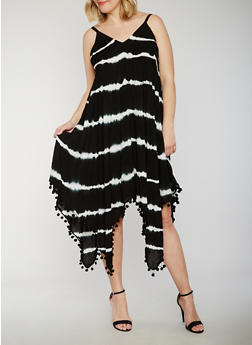 Plus Size Tie Dye Maxi Dress with Pom Pom Fringe Hem - 0390056124339