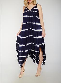 Plus Size Tie Dye Maxi Dress with Pom Pom Fringe Hem - 0390056124339