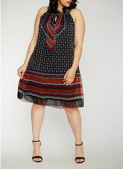 Plus Size Sleeveless Printed Shift Dress with Jeweled Collar - 0390056124364