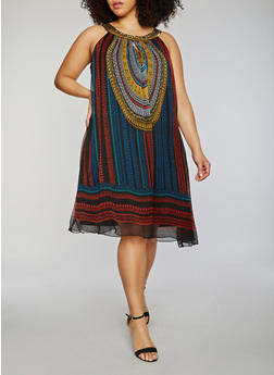 Plus Size Sleeveless Printed Shift Dress with Beaded Coller - 0390056124365