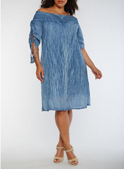 Plus Size Off the Shoulder Smocked Peasant Dress - 0390056124461