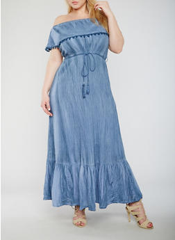 Plus Size Off The Shoulder Maxi Dress with Pom Pom Trim - 0390056124462