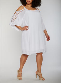 Plus Size Cold Shoulder Lace Trim Dress - WHITE - 0390056124466
