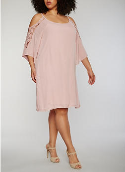 Plus Size Cold Shoulder Lace Trim Dress - 0390056124466